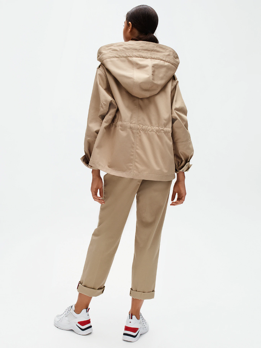 Cotton Twill Hooded Utility Jacket Beige Tommy Hilfiger Women S Coats Jackets Outerwear Jackets Short Jacket [ 1333 x 1000 Pixel ]