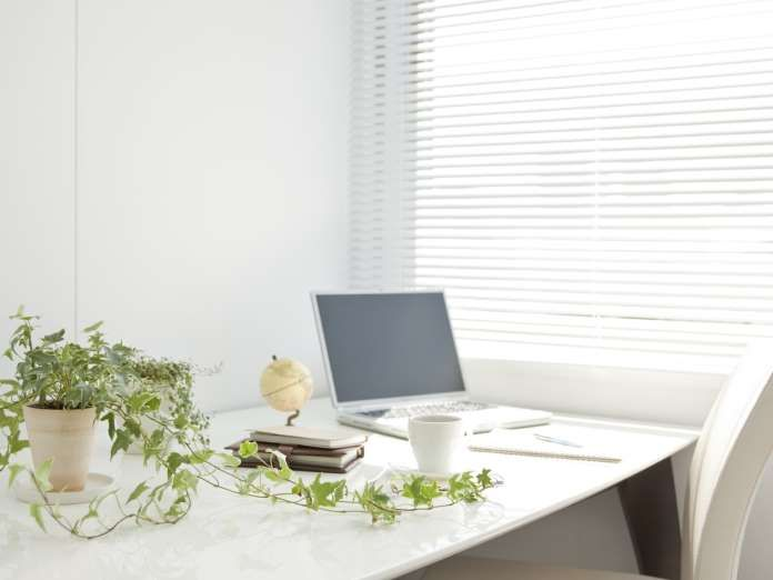 White tones, a single plant, and blinds that let in the light are all you need to create a soothing ... - Photo Shutterstock