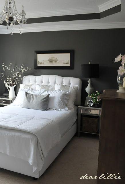 Black Lamp Shades White Linens Bedding Dark Gray Bedroom Charcoal Grey Bedrooms