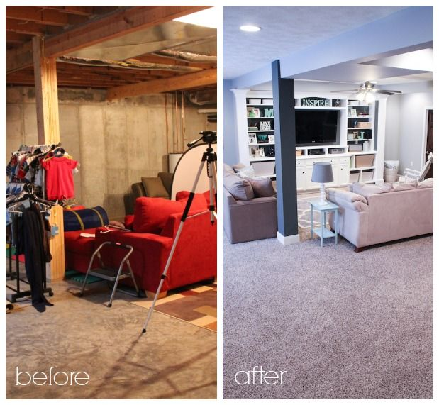 Finished Basement Ideas Before After Home Pinterest