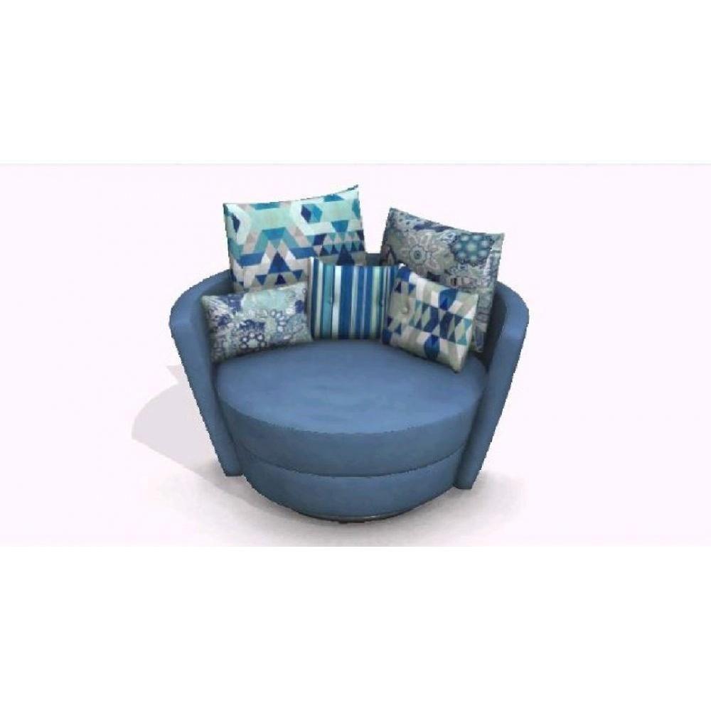 Fama Fauteuil Pivotant Design Mynest Bleu Fauteuil