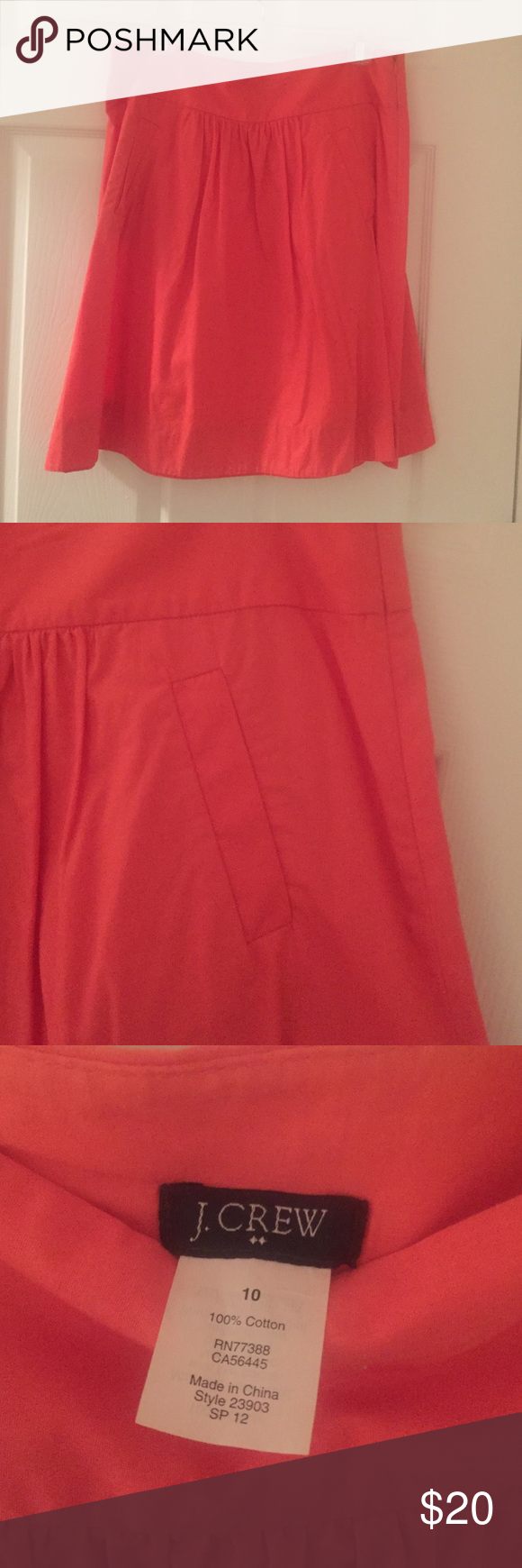 Coral J. Crew Skirt J.Crew skirt in bright, fun coral color. Pocket detailing with side zipper. Only worn a few times! J. Crew Skirts Midi