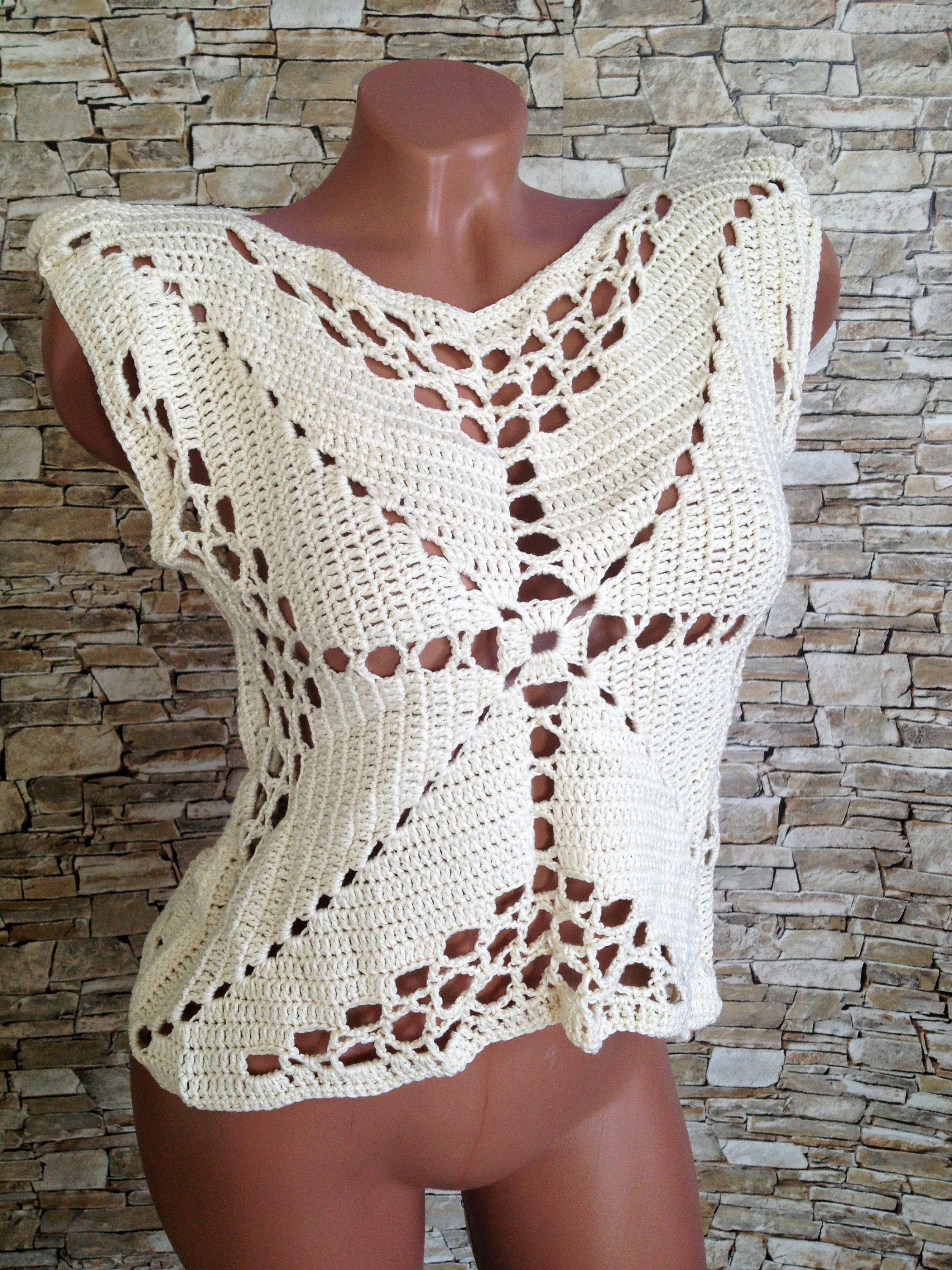 Crochet crop top/ Halter summer top/ Bohemia Top/ Crochet vest ...
