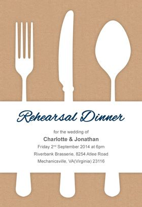 "Free Dinner Invitations Fancy Flatware"" Printable Rehearsal Dinner Invitationcustomize ."