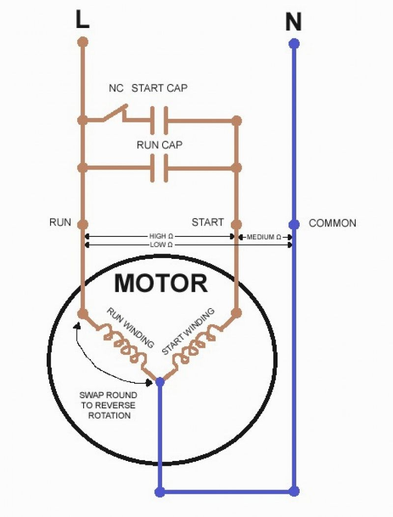 Single Phase Motor Wiring Diagram Capacitor Start 12 Volt Led Lights Run