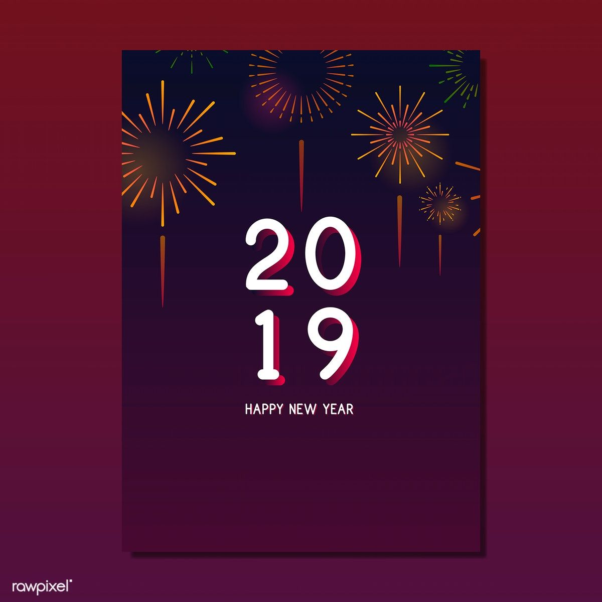 Happy New Year 2019 Greeting Card Vector Free Image By Rawpixel Com Ningzk V New Year Card Design Happy New Year 2019 Happy New Year