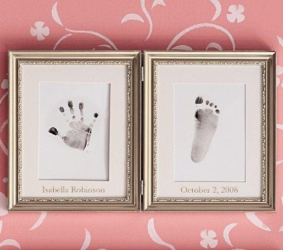 silver leaf handprint and footprint frame footprints leaves and