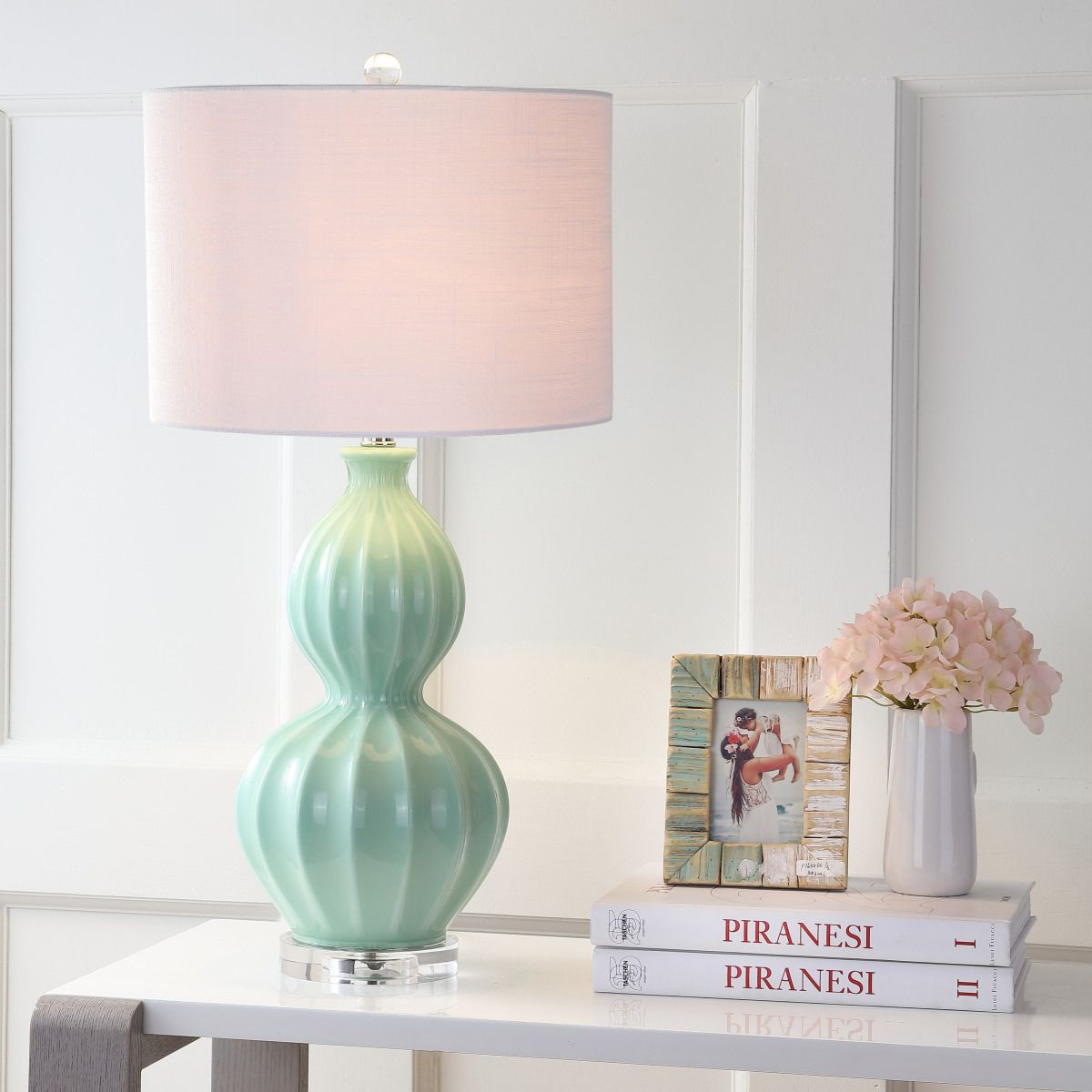 "Kasen 28"" Glass LED Table Lamp, Seafoam Green Eyely in"