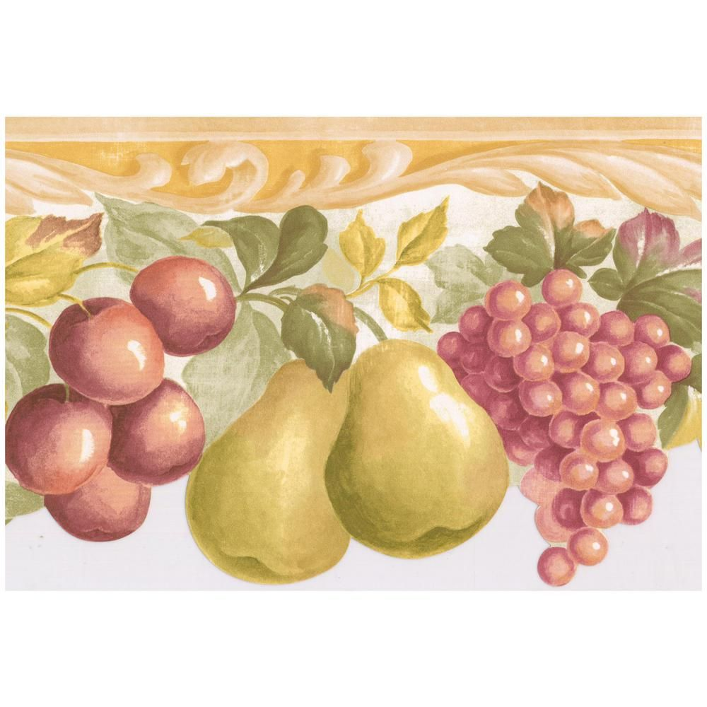 Norwall Red Apple Purple Plum Green Pear Pink Grapes Scalloped Kitchen Prepasted Wallpaper Border Mul Grape Kitchen Decor Prepasted Wallpaper Wallpaper Border