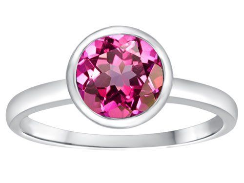 Tommaso Design(tm) 7mm Round Created Pink Sapphire Engagement Solitaire Ring - Created, Designtm, Engagement, Pink, Ring, Round, Sapphire, Solitaire, Tommaso