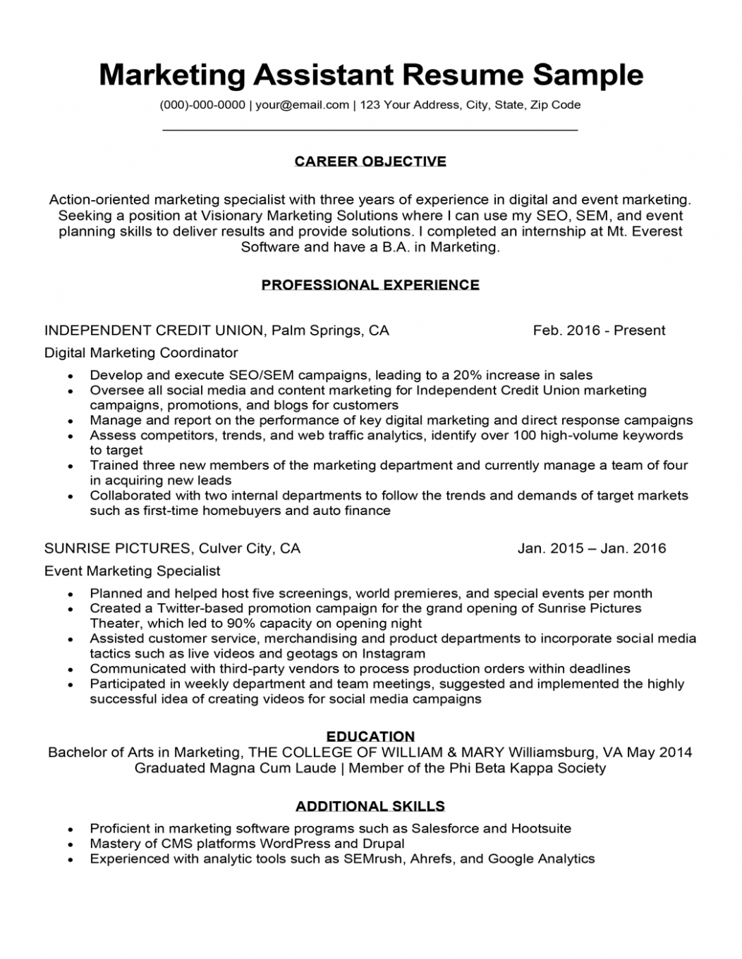 Resume Marketing Objectives Examples In 2021 Marketing Resume Resume Objective Statement Resume