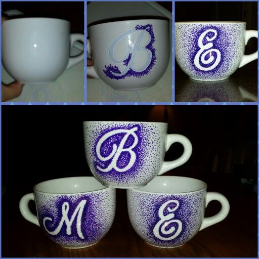 Ceramic mugs, stick on letters, dots with Sharpies & bake @ 350 for 30 min = cute :-)