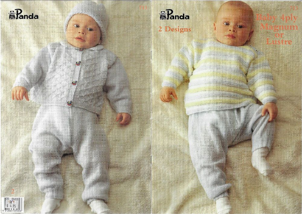 Baby Jumper, Leggings & Pram Set Panda 713 knitting pattern 2 styles ...