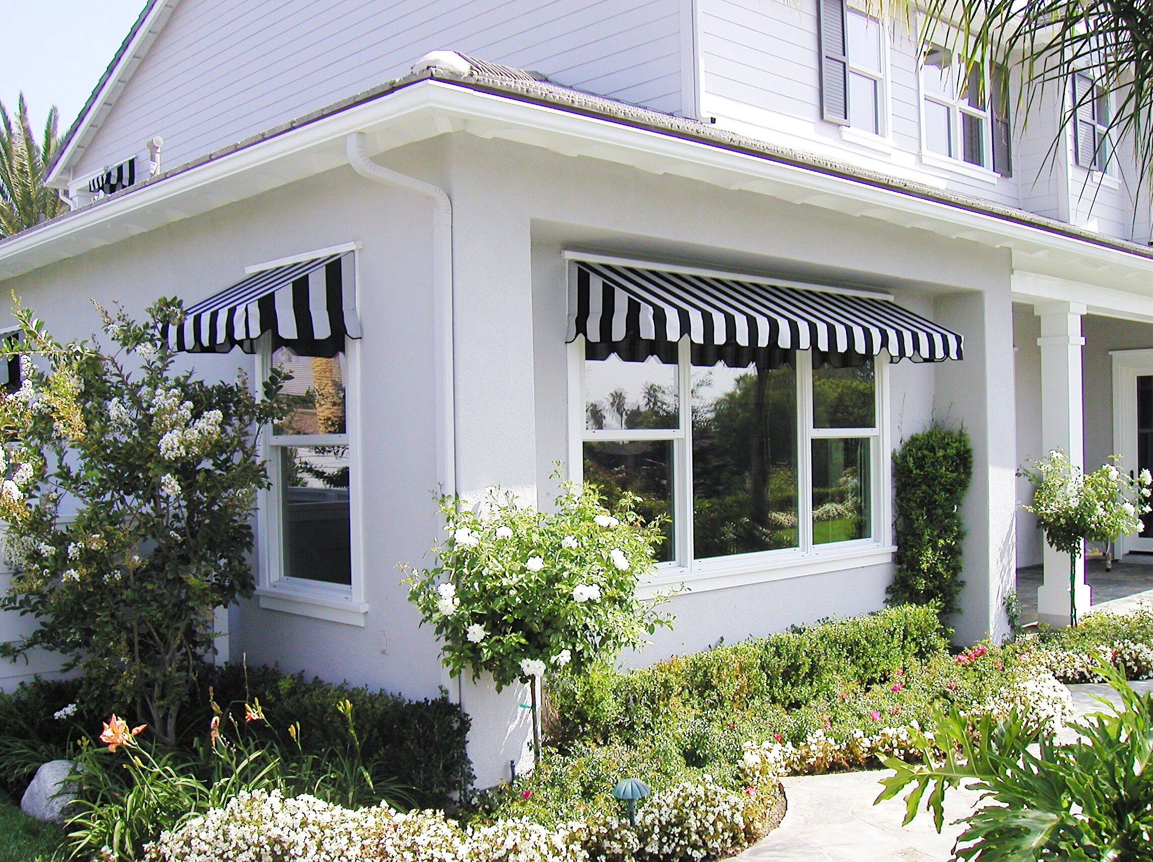 Riviera Style Fixed Awnings Are A Sure Way To Add Character To The Exterior Of Your Home Or Business Here At Classic We Install Awni Anaheim Hills Beach House Outdoor Decor