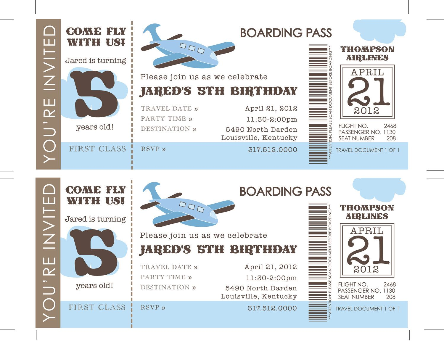 Printable DIY Airplane Birthday Invitation, Ticket Invitations ...