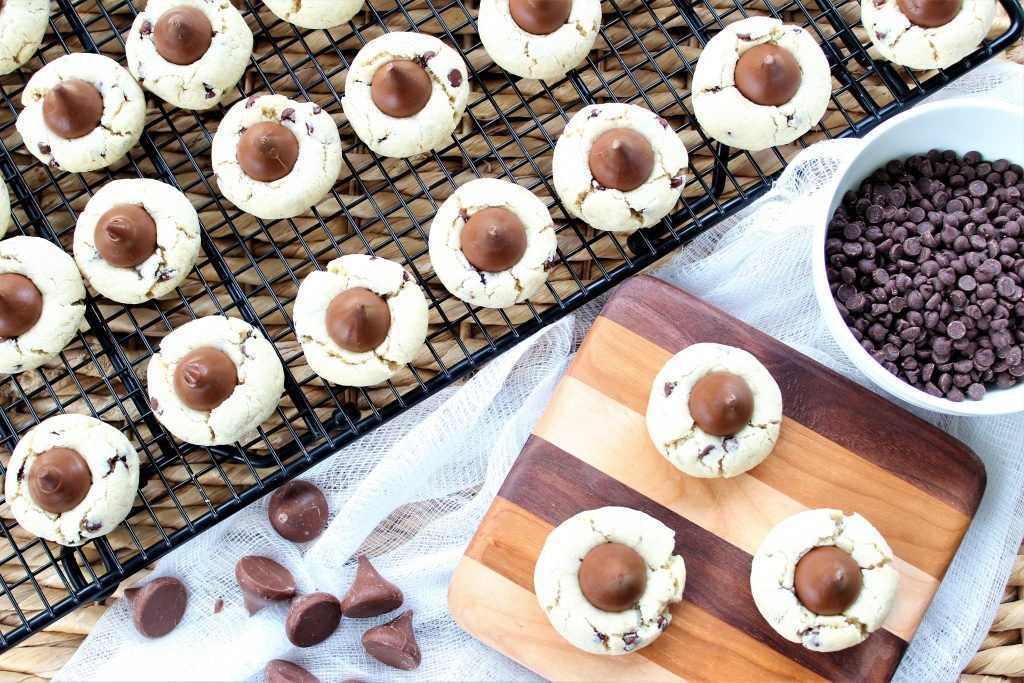 Gluten Free Chocolate Chip Blossom Cookies (Peanut Butter Free) • The Gluten Free Gathering #peanutbutterblossomcookies