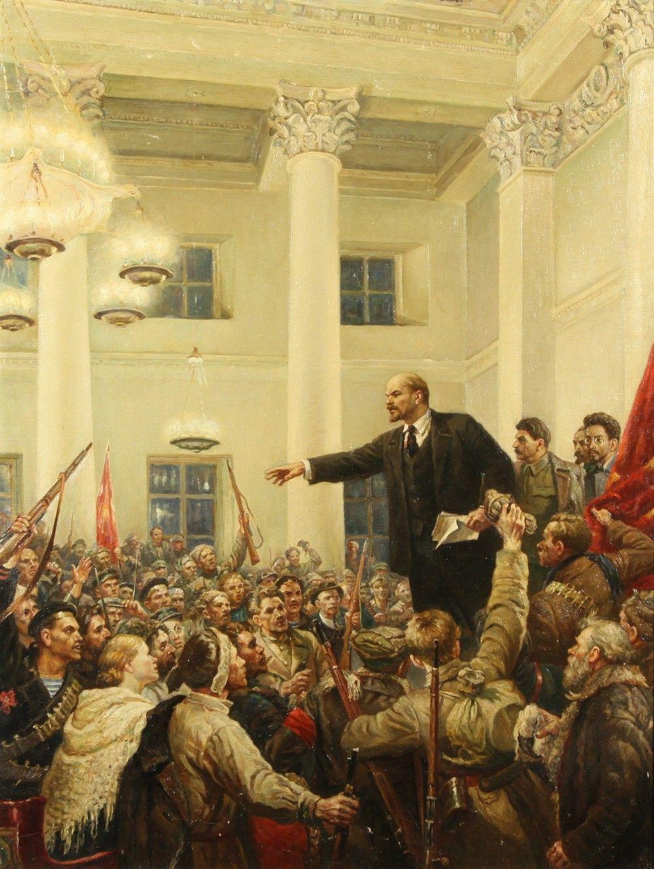 Vladimir Lenin: 1917 Russian Revolution painting by Vladimir Serov - 'V. I. Lenin Proclaims Soviet Power'