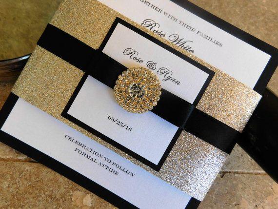 Black White And Gold Wedding Invitation Glamorous Bling