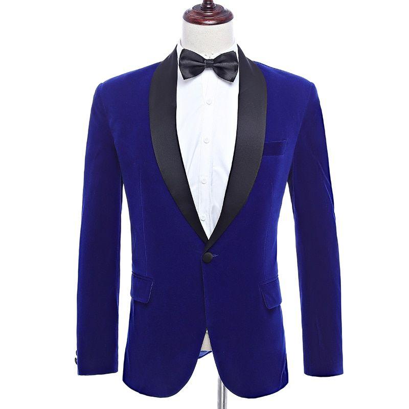 0157e7a743d Shawl Lapel Royal Blue Velvet Wedding Groom Suit Jacket Leisure Blazer Slim  Fit ropa de hombre men blazers Review