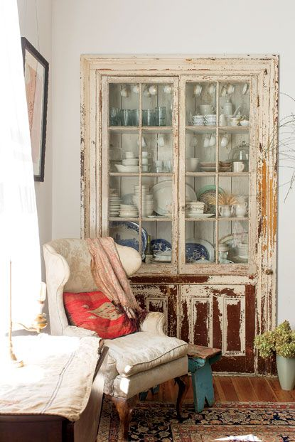 Photo Credit: Patricia Lyons . A built-in hutch filled  with heirloom dishes.