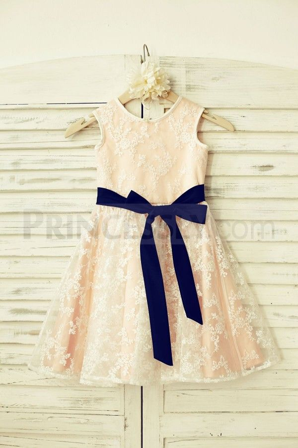 Lace Flower Girl Dress With Navy Blue Sash Blush Pink Lining