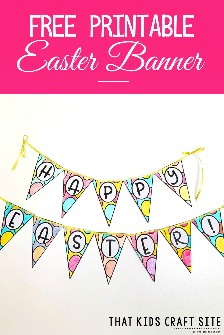 Free Easter Banner Printable to Color - That Kids' Craft ...