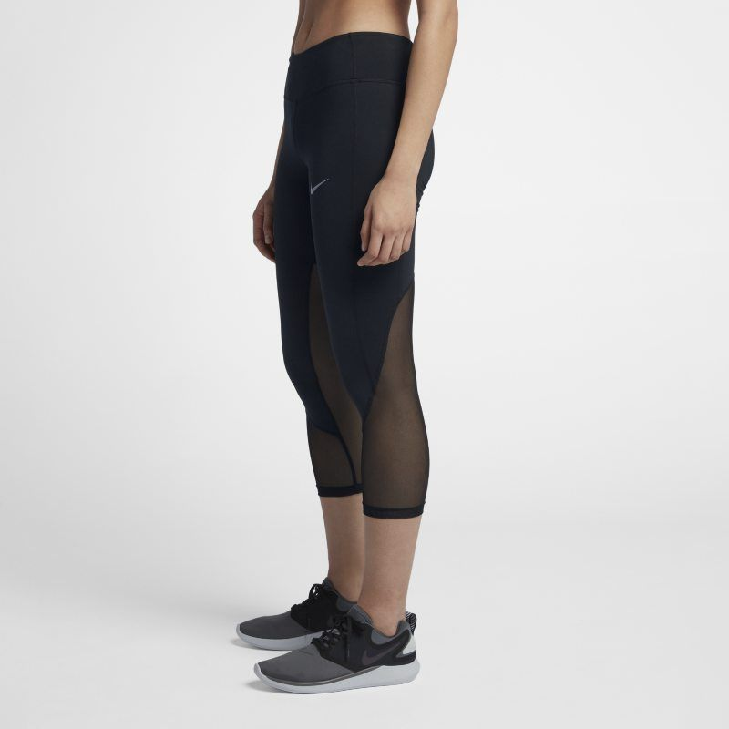 Nike Power Women S Mid Rise Running Crops Black Running Women Nike Women Black Cropped Pants