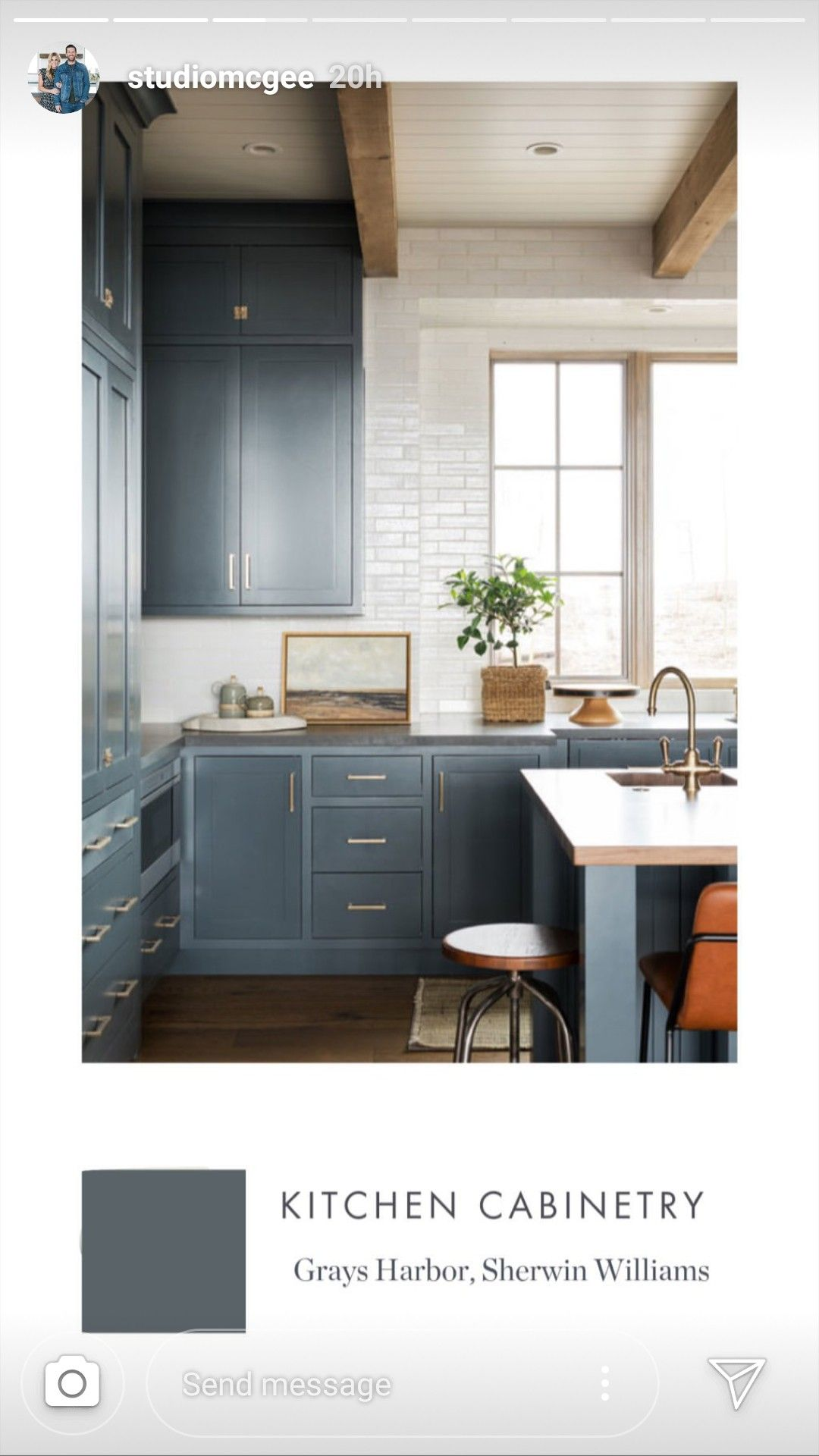 Studiomcgee Grays Harbor Sherwin Williams Steel Kitchen Cabinets Home Kitchens Kitchen Cabinets