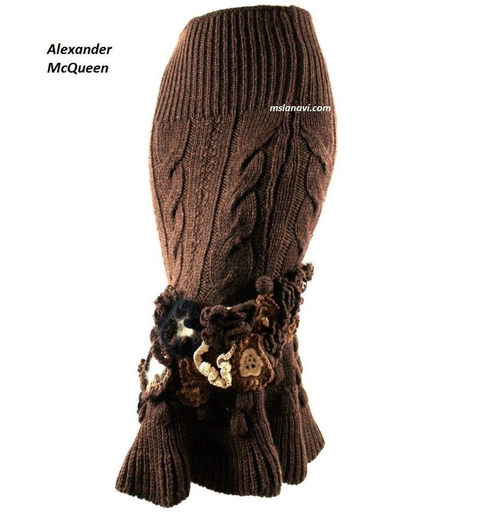 Вязаные зимние юбки спицами
