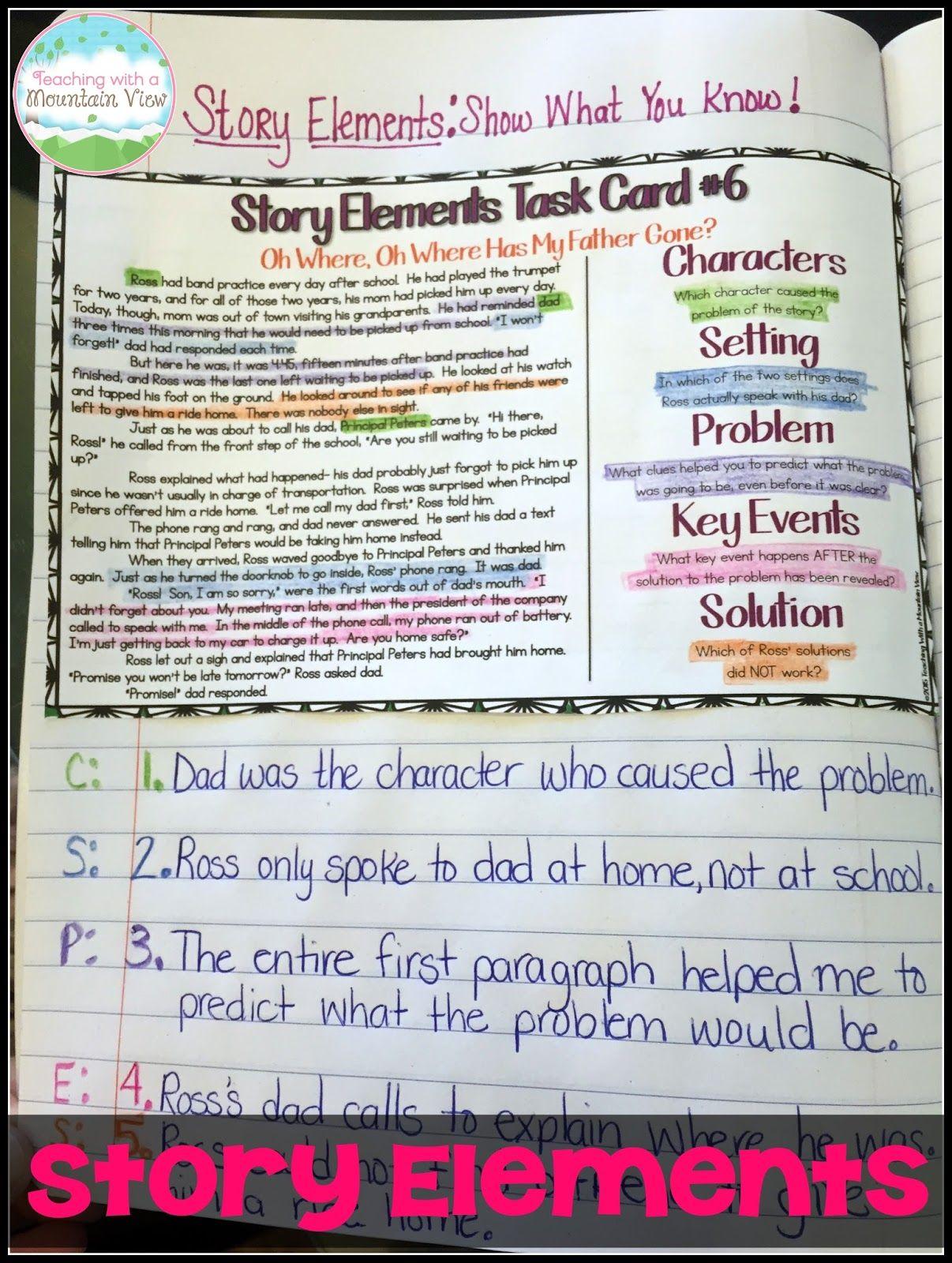 Teaching Story Elements A Wonder Freebie Teaching With A Mountain View Teaching Story Elements Teaching Plot Story Elements