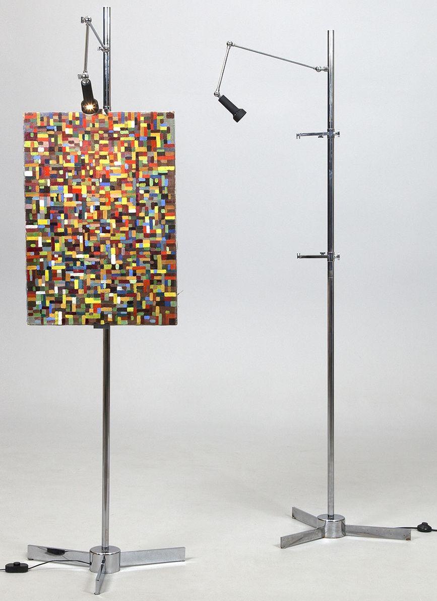 Angelo Lelli - Easel - Floor lamp / Spot for Arredoluce - Nickel
