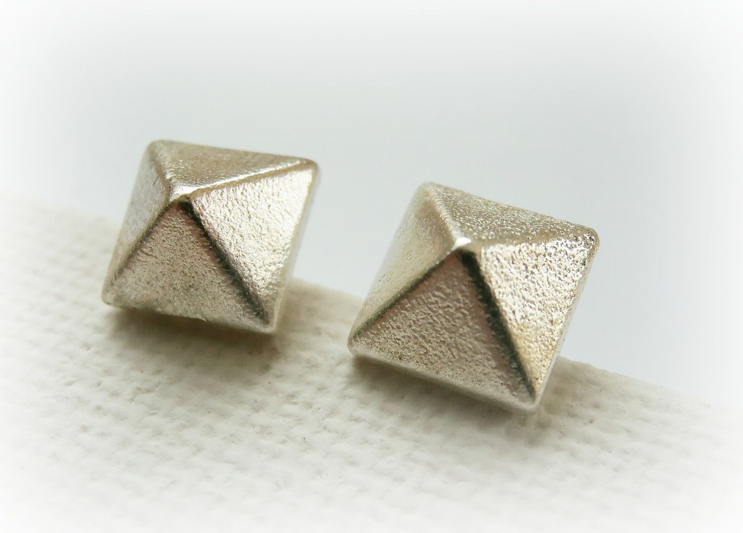 9a664144d Sterling silver pyramid stud earrings - square stud earrings. $35.00, via  Etsy.