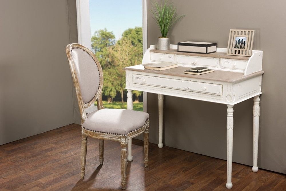 DETAILS Boasting a white-streaked and distressed finish plus plenty of storage space via four drawers and a well-positioned shelf, our Anjou Traditional French Accent Writing Desk combines flair and u