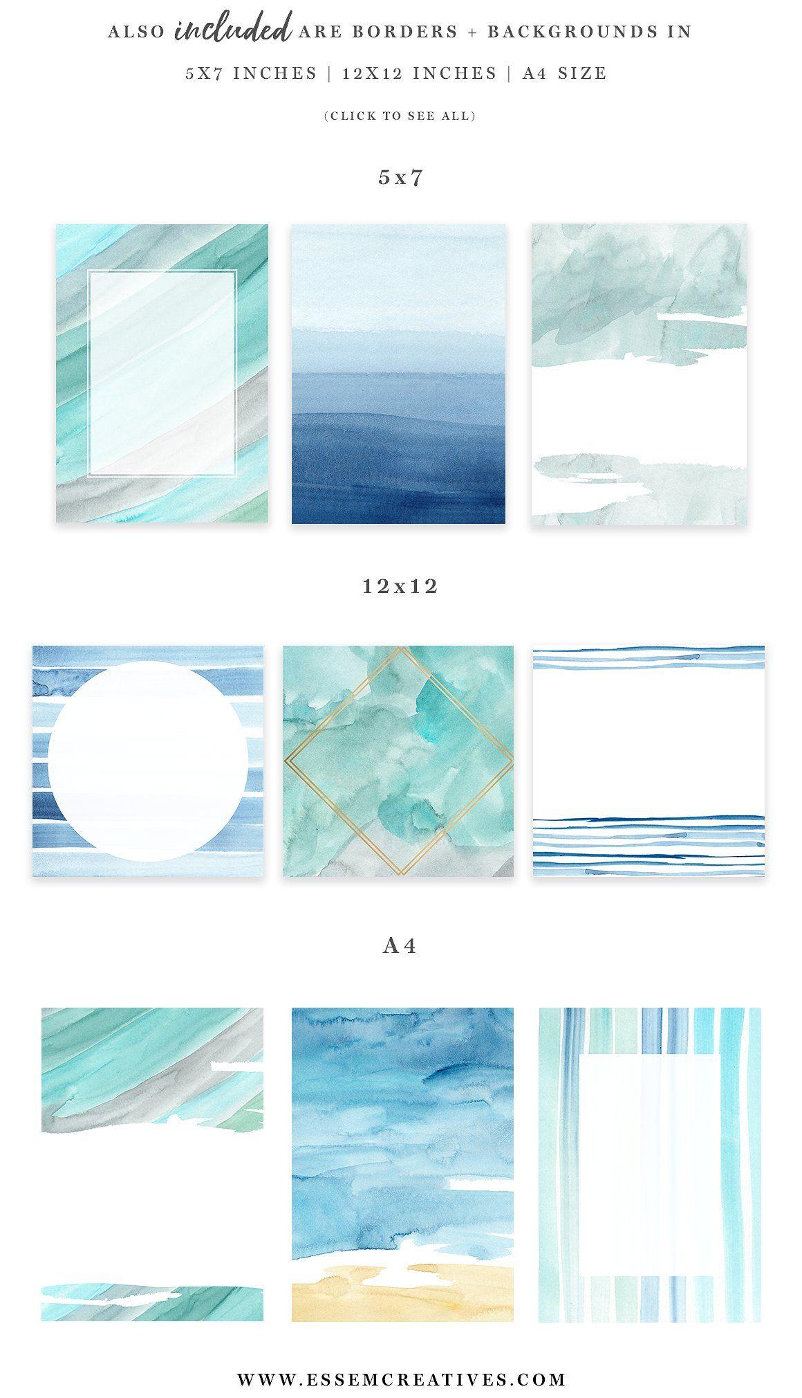 Ocean Beach Watercolor Backgrounds Vizualnyj Obraz Dizajn
