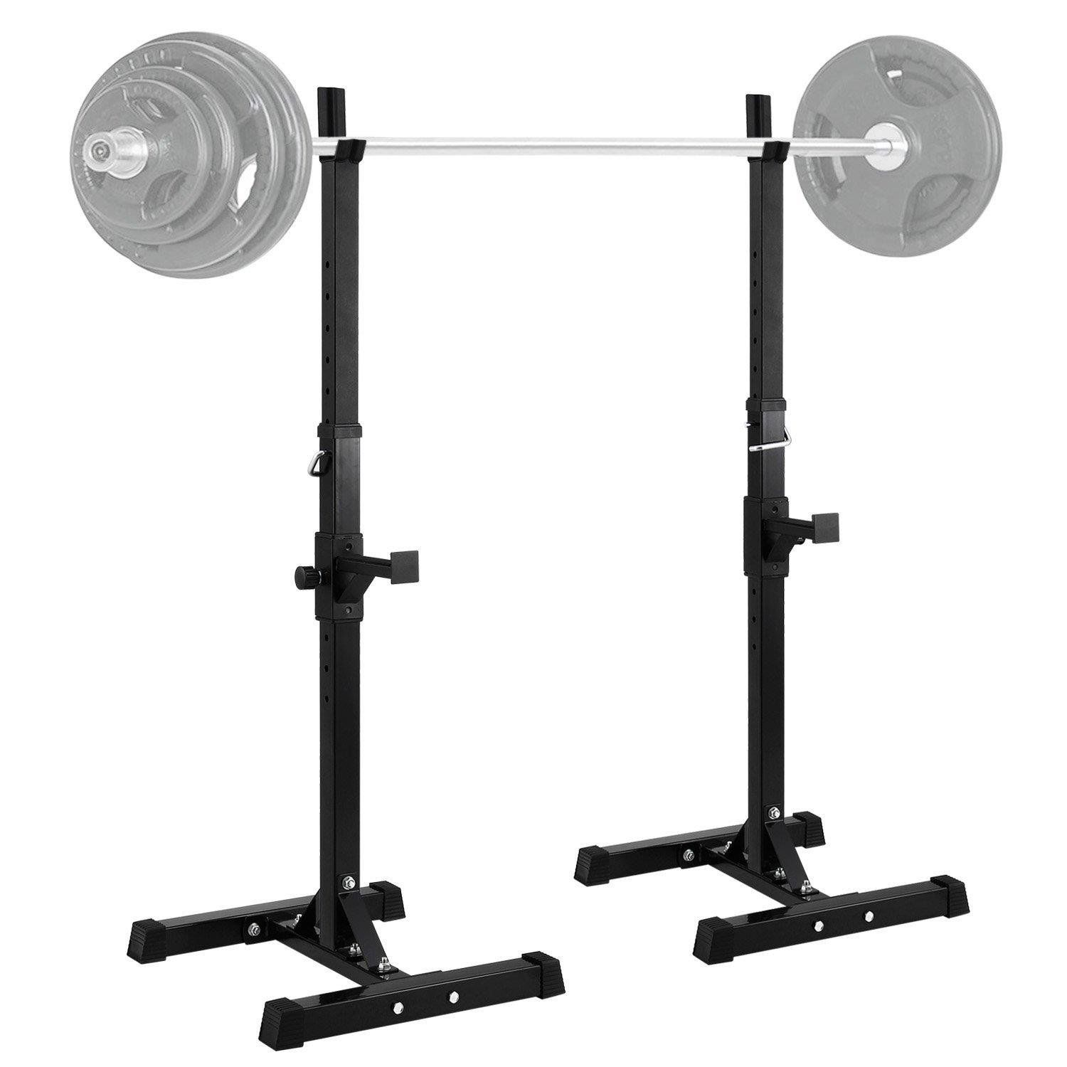 Ktaxon Pair Of Standard Solid Barbell Bench Adjustable Steel Squat Rack Stands For Gym Workout Exercise Walmart Com In 2020 Squat Rack No Equipment Workout Family Fitness