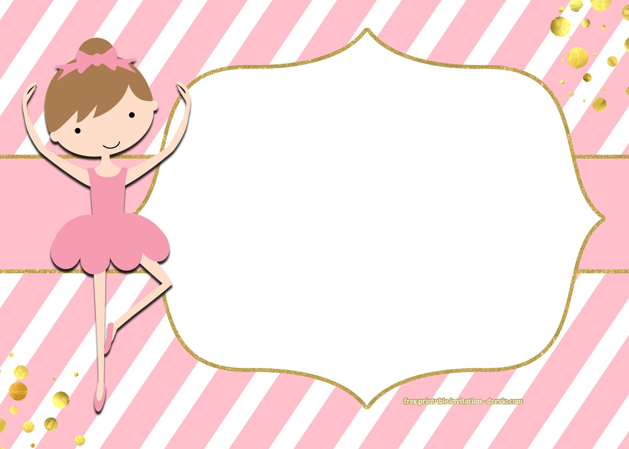 FREE Golden Ballerina Birthday Invitation Templates | Ballerina ...