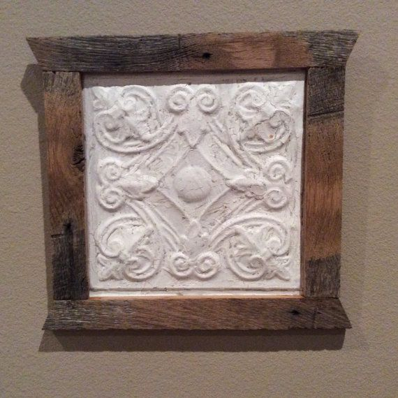 Discount Home Decor Catalogs: Old Antique Ceiling Tile Tin, Created With A Barnwood