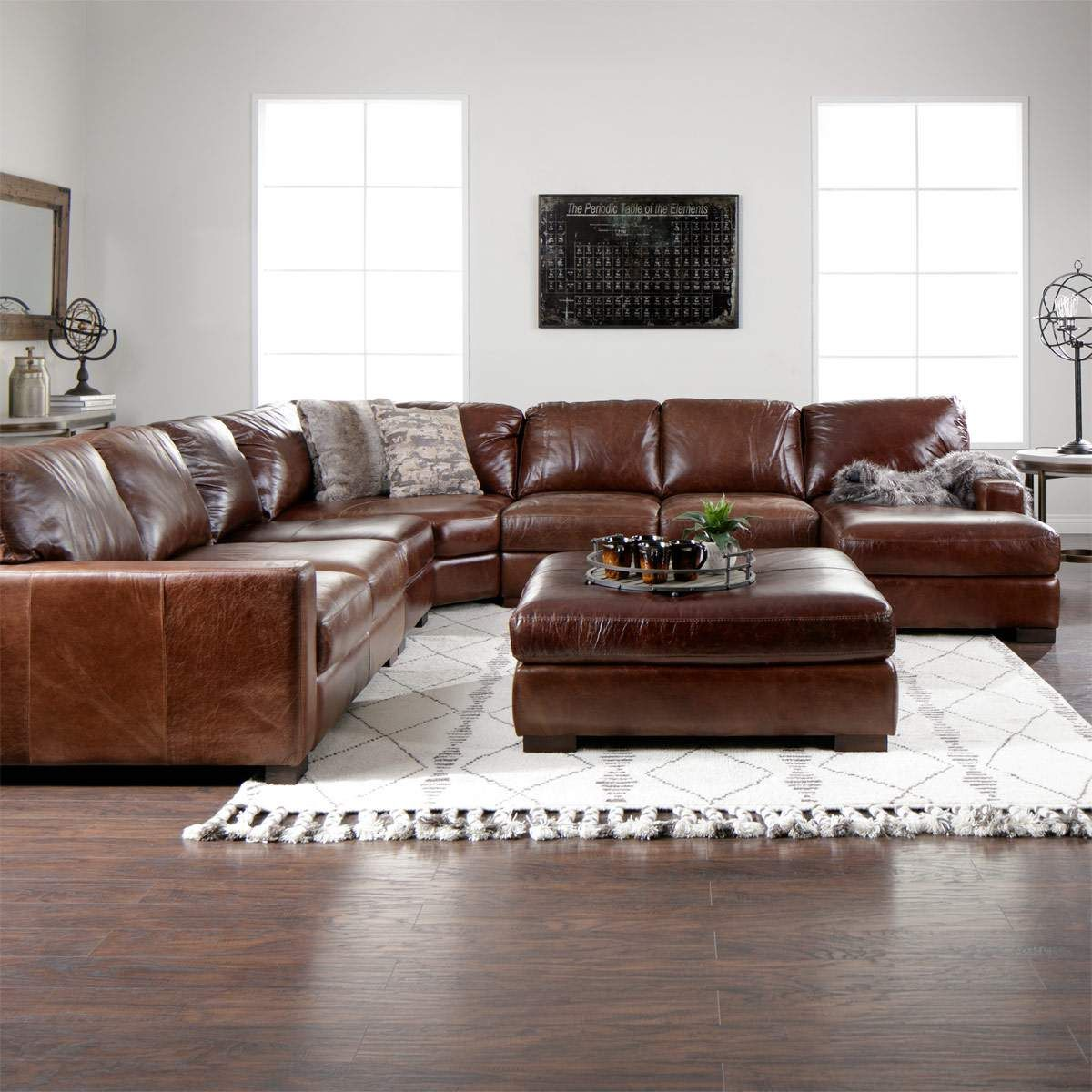 The Handsome Landmark Brown Leather Living Room Sectional Is