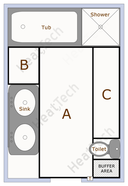 Typical Bathroom Floor Layout Divided Into Sections To Be Heated