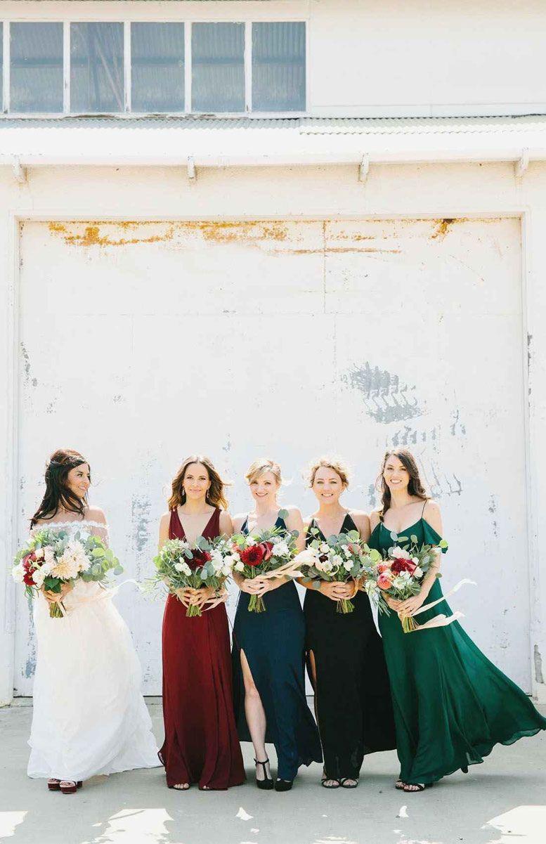 Jewel-toned bridesmaid dresses - green + red + dark blue and black #bridesmaids