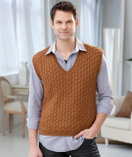 Mens Basketweave Vest Knitting Pattern Red Heart For Bruce