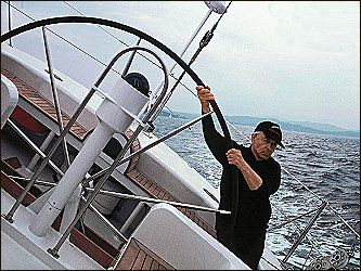 Karajan at the helm of his 80-foot racing yacht in the Mediterranean | Travel spot, Travel and leisure, Sailboat yacht