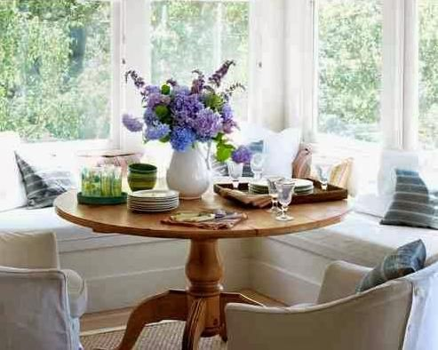 Furniture Dining Breakfast Nook Country Round Table Bay Windows Bench Banquette Seating Cococozy Living White Sofa