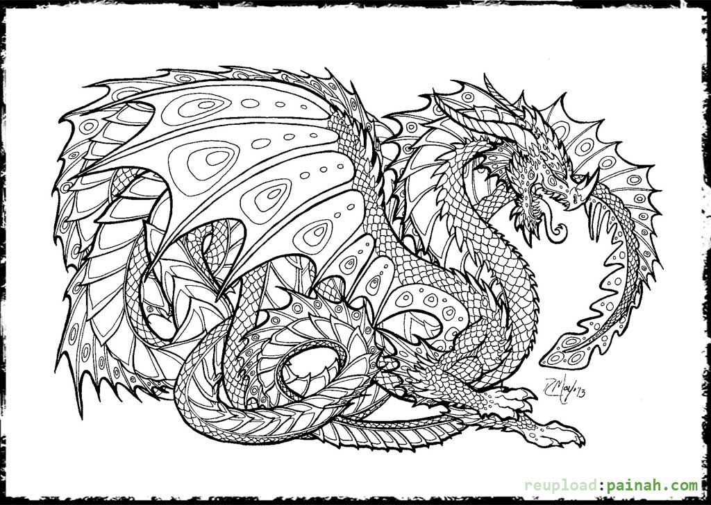 Realistic Dragon Coloring Pages For Adults AZ Coloring Pages Art