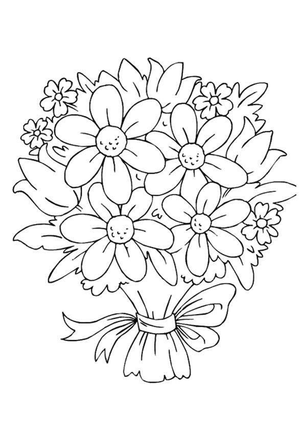 Colouring Pages Of Flowers In Vase : Flower drawings to print and color download this coloring sheet