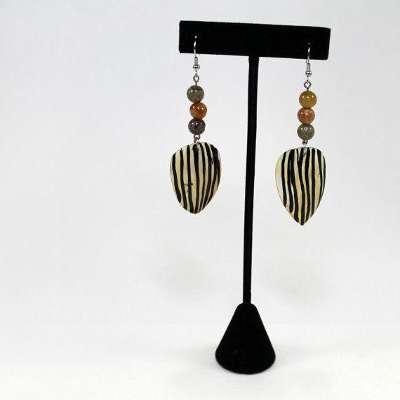 Tribal Earrings Beaded Earrings Zebra by BlingNThingsbyPenny