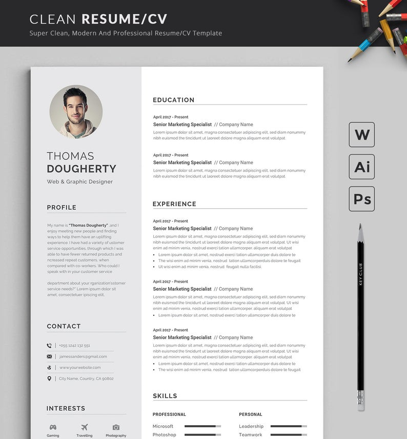 Resume Template Modern Professional Resume Template For Etsy Resume Template Professional Resume Template Word Clean Resume Template