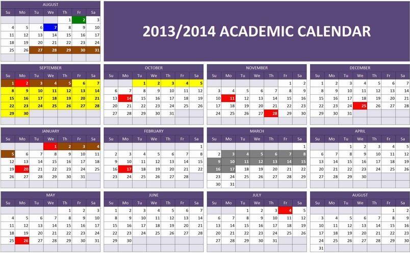 Academic Calendar Template Calendar Template Pinterest