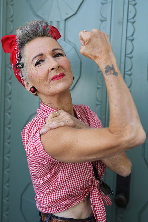 Let Advanced Style's Mara West Show You How To Create A Rockabilly Rosie The Riveter Look