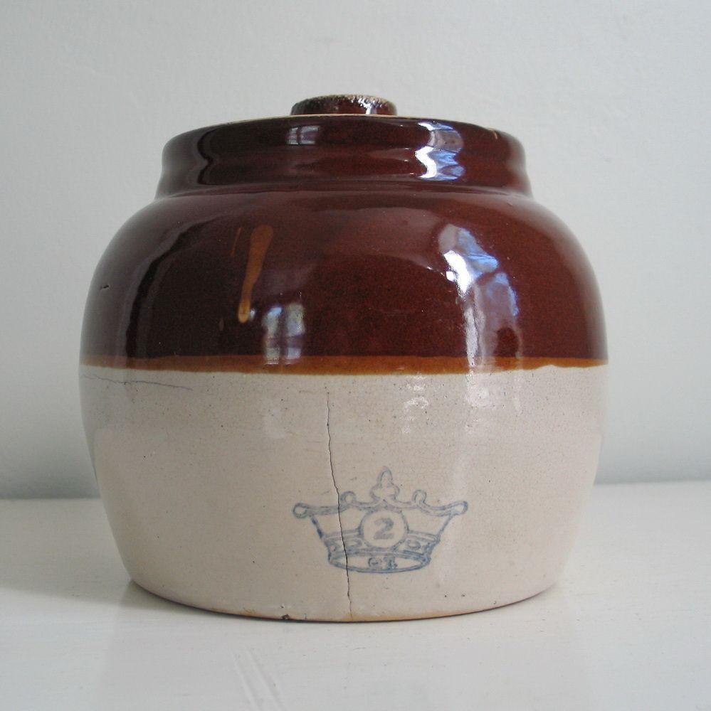 Vintage Rustic Brown N Tan Ransbottom Stoneware Ceramic Bean Pot Bean Pot Stoneware Ceramics Stoneware